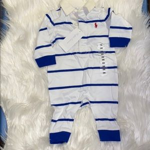 Ralph Lauren Baby Striped Cotton Rugby Coverall